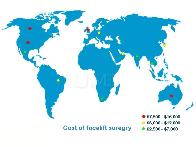 Facelift cost around the world